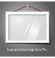 White isolated horizontal photo frame hanging on vector