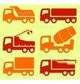 Yellow and red industrial transport set vector