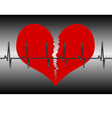 Red broken heart with cardiogram vector