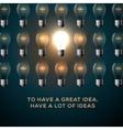 Idea concept row of light bulbs vector