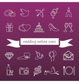 Wedding outline icons vector