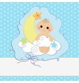 Cute template for baby postcard vector