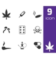 Black drugs icons set vector
