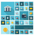 Finance icons with long shadow vector