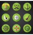 Navy sailor marine flat icon set include fish vector