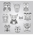Set of 10 doodle owls vector
