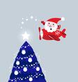 Santa in air plane vector