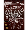 Inscription in white paint with beer glasses vector