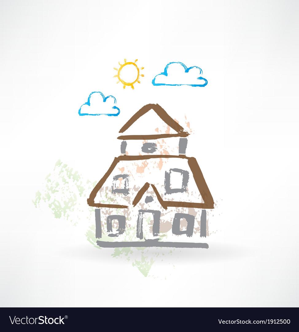 Big house grunge icon vector   Price: 1 Credit (USD $1)