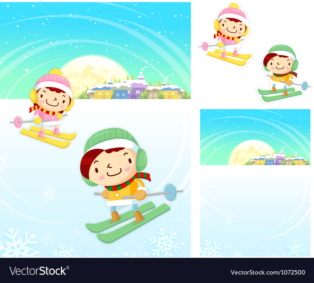 Boys and girls skiing winter season character vector | Price: 3 Credit (USD $3)