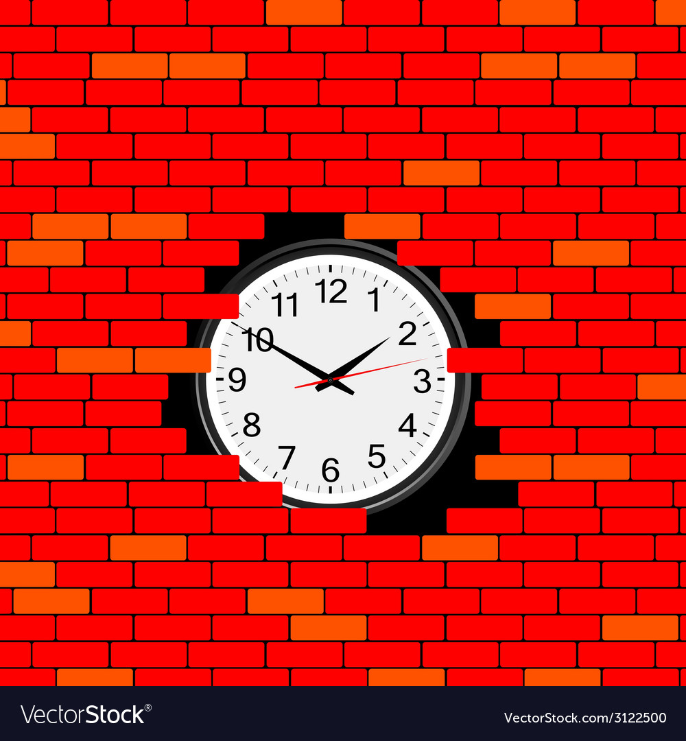 Clock in the brick wall vector | Price: 1 Credit (USD $1)
