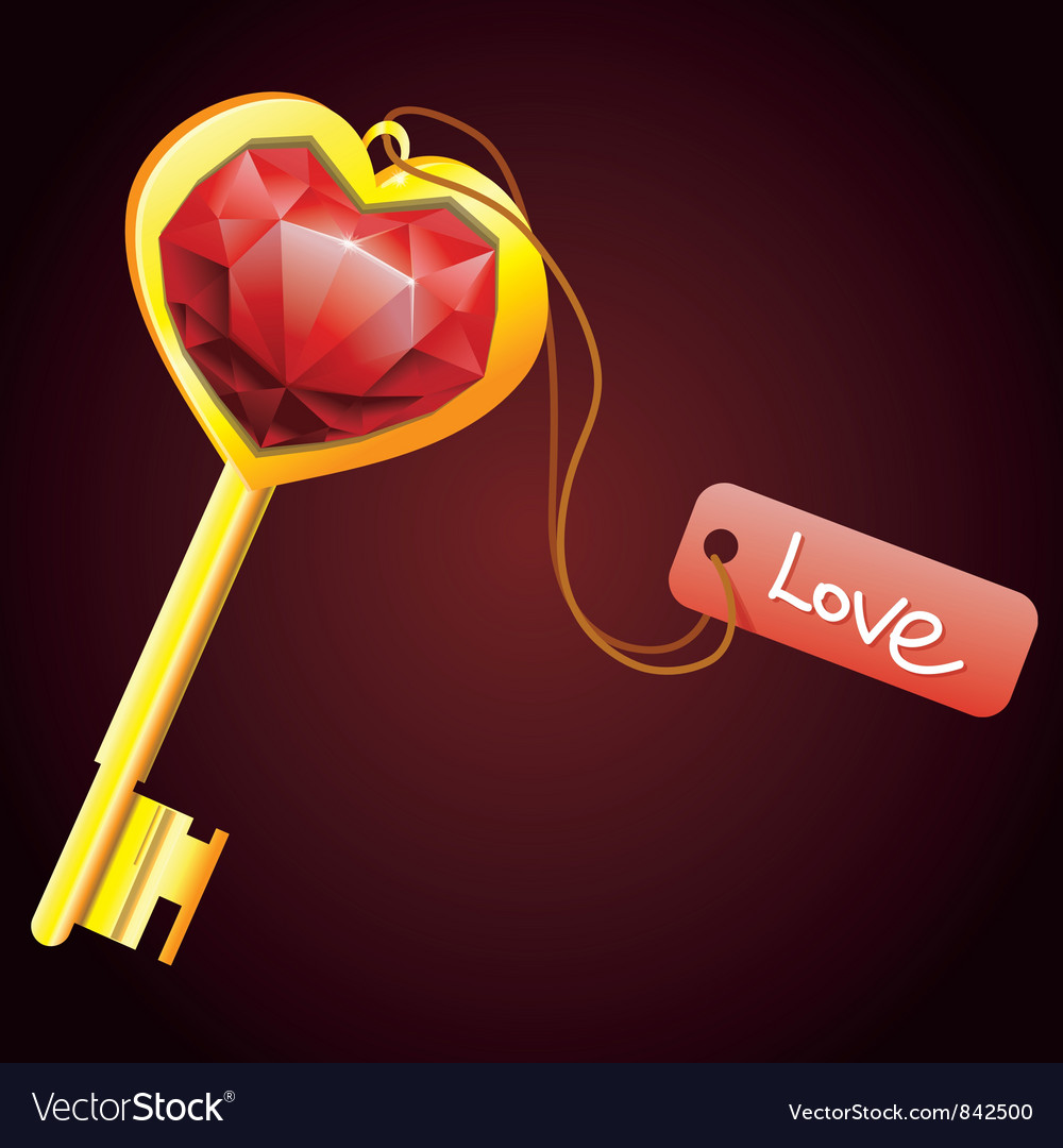 Golden key with diamond heart with label vector | Price: 1 Credit (USD $1)