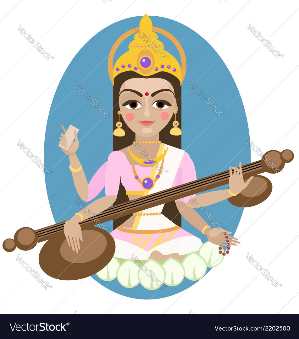 Hindu goddess saraswati vector | Price: 1 Credit (USD $1)