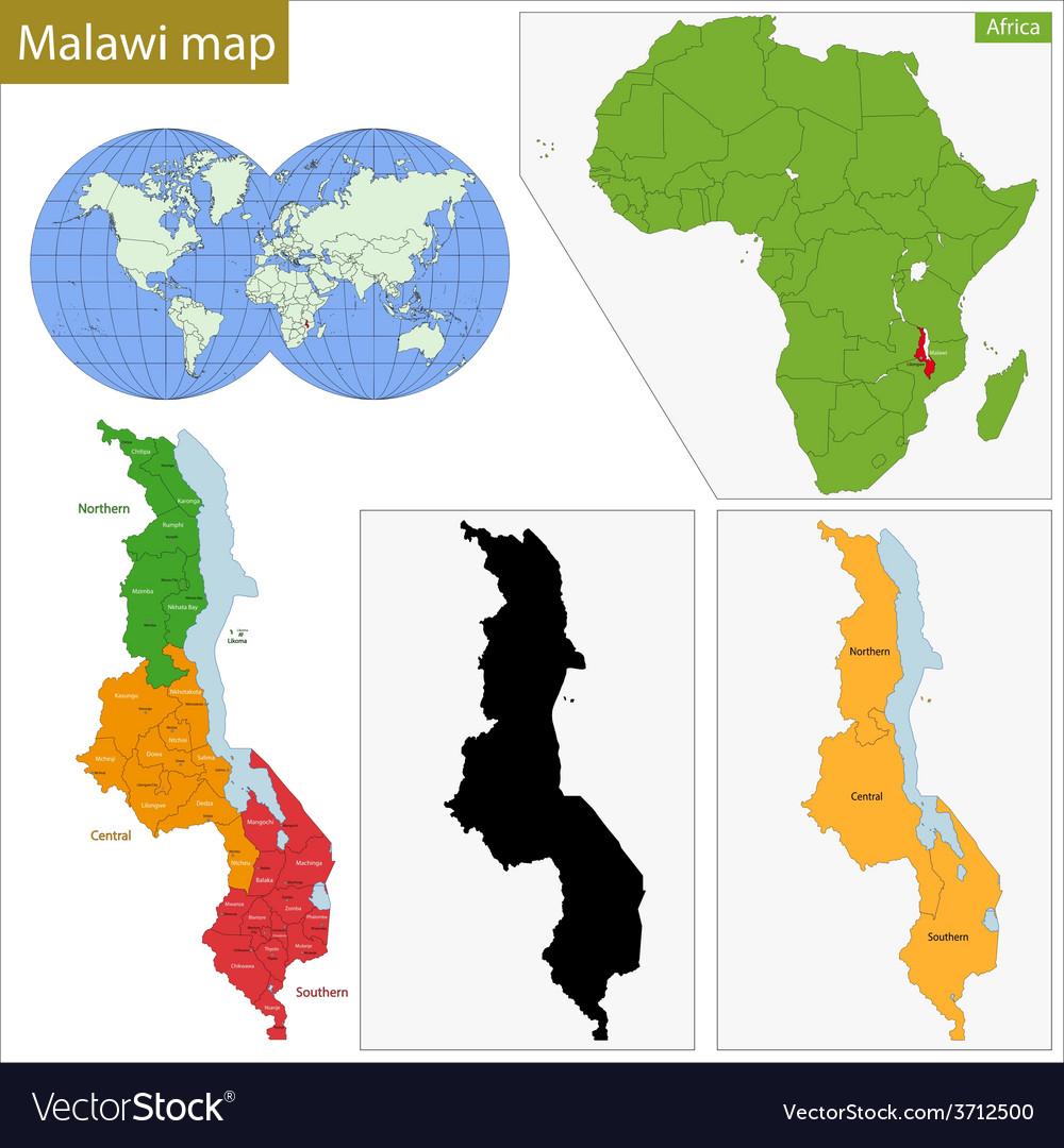 Malawi map vector | Price: 1 Credit (USD $1)