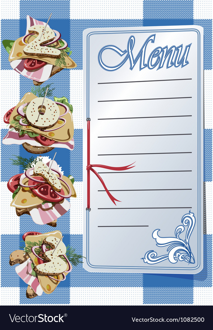 Menu and three canapes on blue napkin vector | Price: 1 Credit (USD $1)