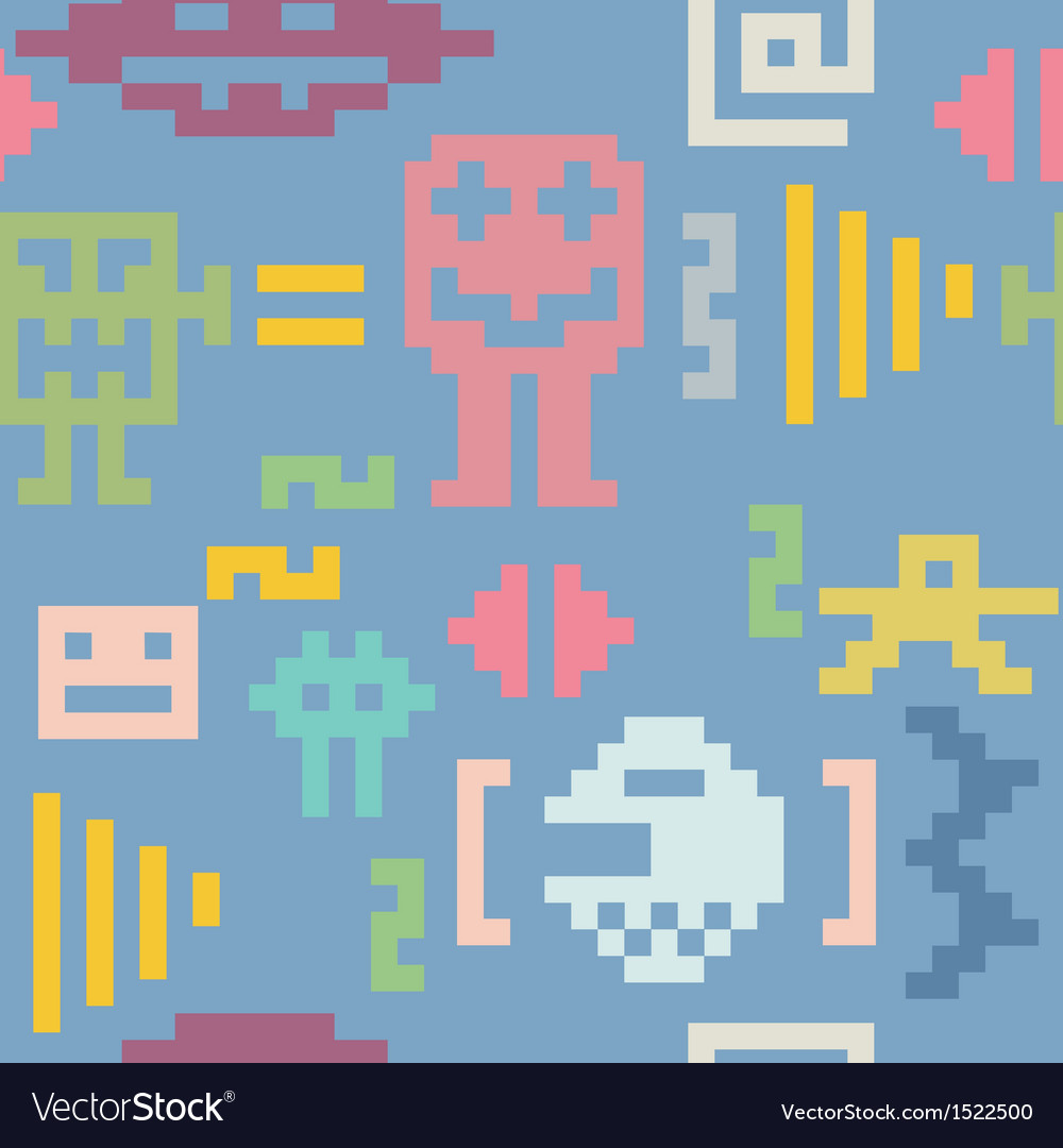 Pixel monsters seamless pattern vector | Price: 1 Credit (USD $1)