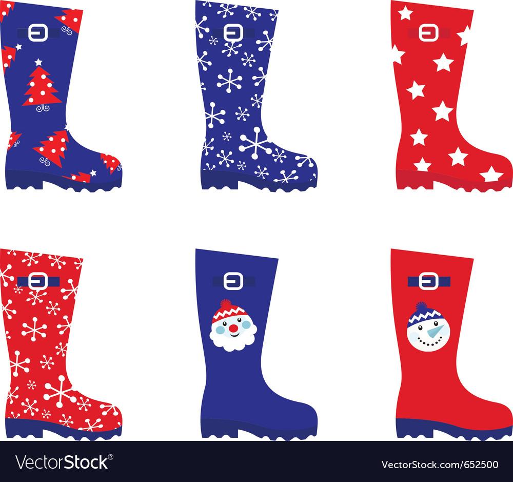 Retro christmas wellington boots vector | Price: 1 Credit (USD $1)