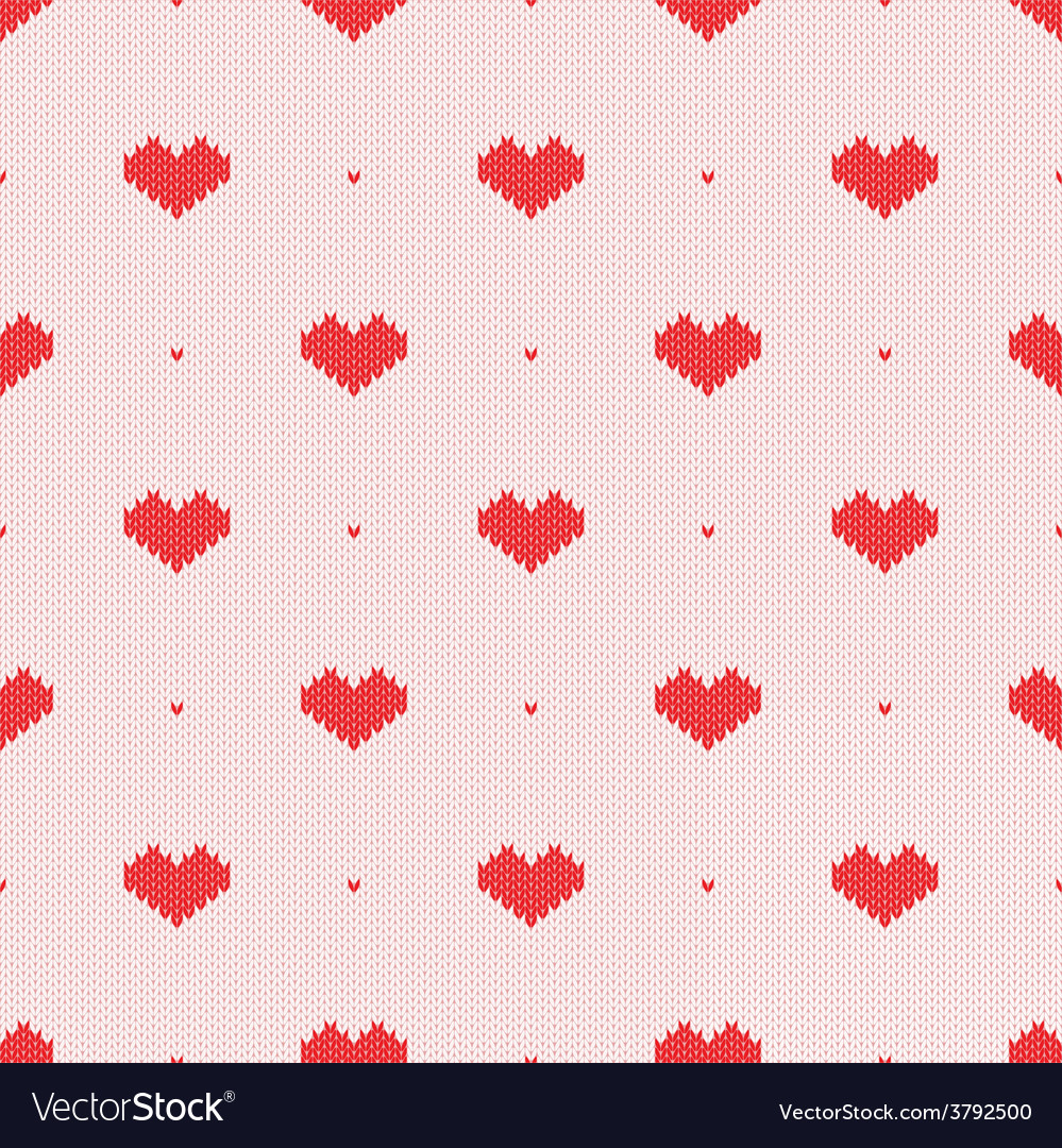 Seamless knitted pattern with hearts vector | Price: 1 Credit (USD $1)