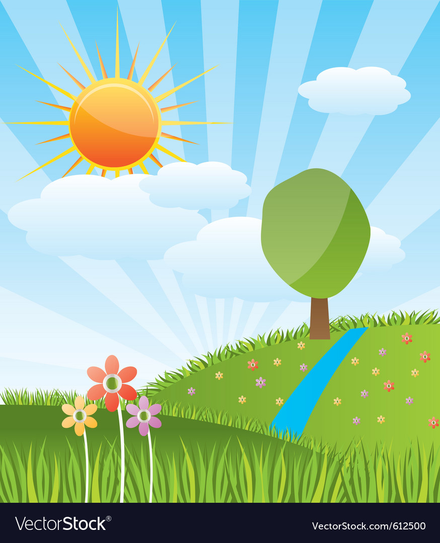 Spring sunny landscape vector | Price: 1 Credit (USD $1)