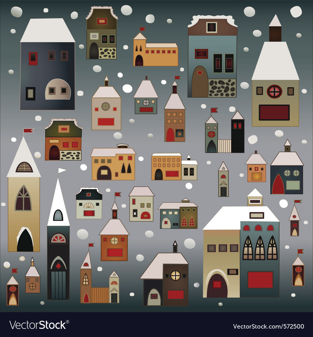 Winter country houses vector | Price: 1 Credit (USD $1)