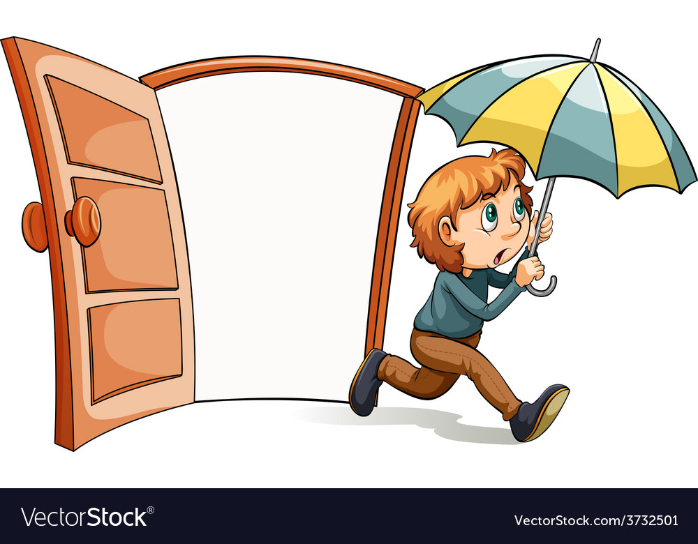 A boy with an umbrella vector | Price: 1 Credit (USD $1)
