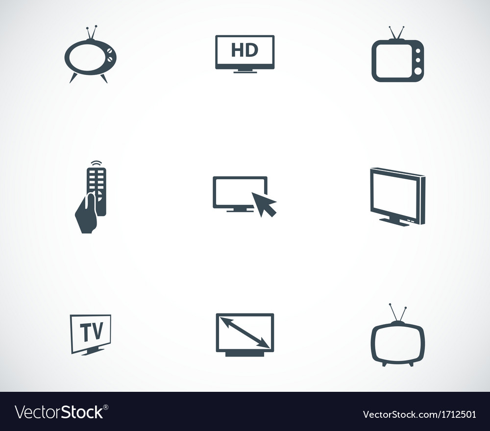 Black tv icons set vector | Price: 1 Credit (USD $1)