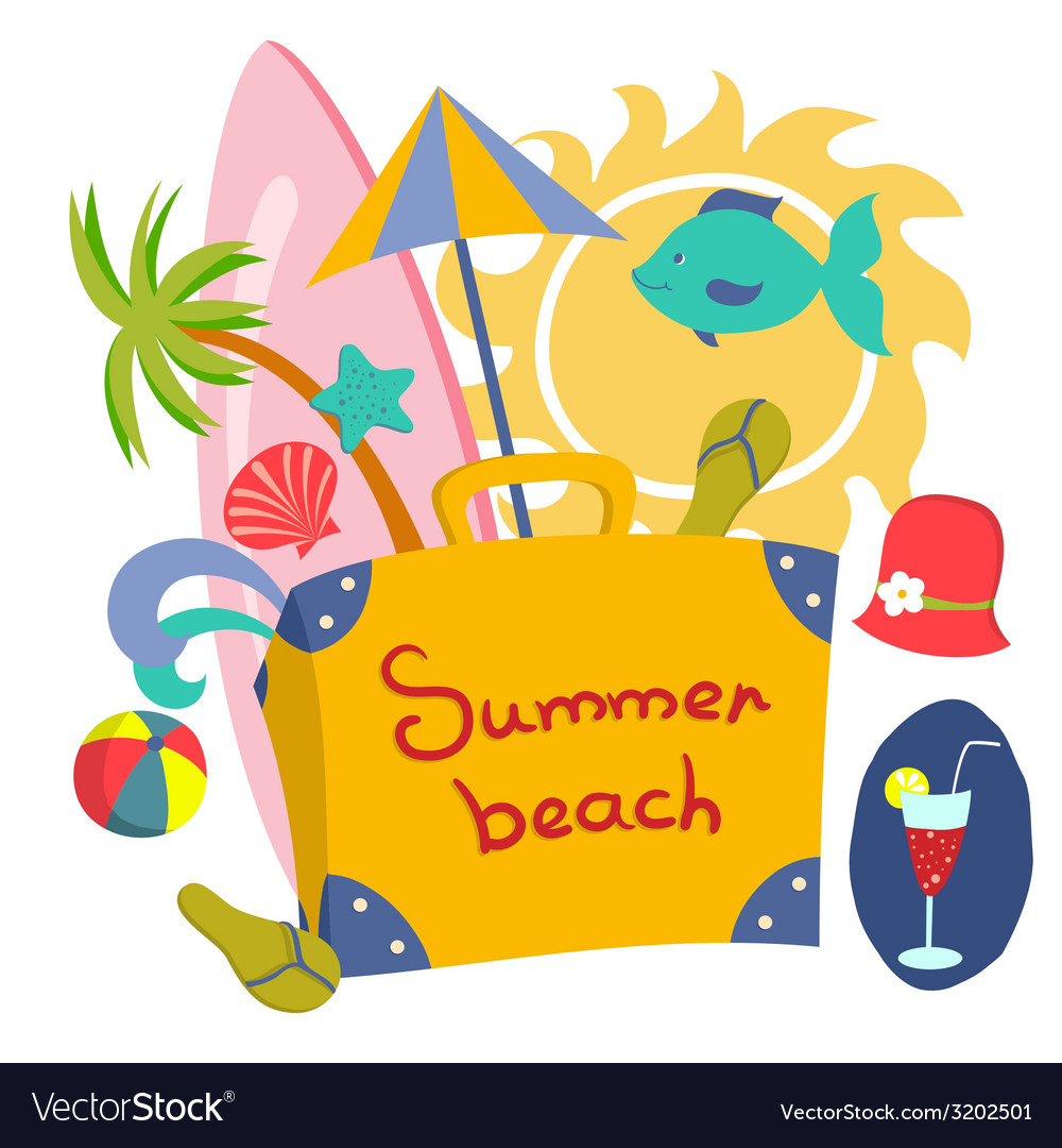 Colorful beach print with cartoon elements vector | Price: 1 Credit (USD $1)