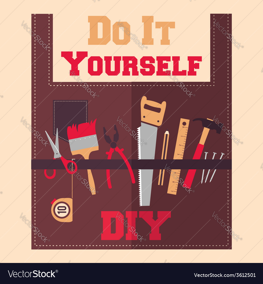 Do it yourself tools on apron vector | Price: 1 Credit (USD $1)