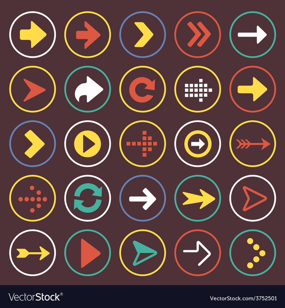 Flat arrow icons sign symbol set vector | Price: 1 Credit (USD $1)