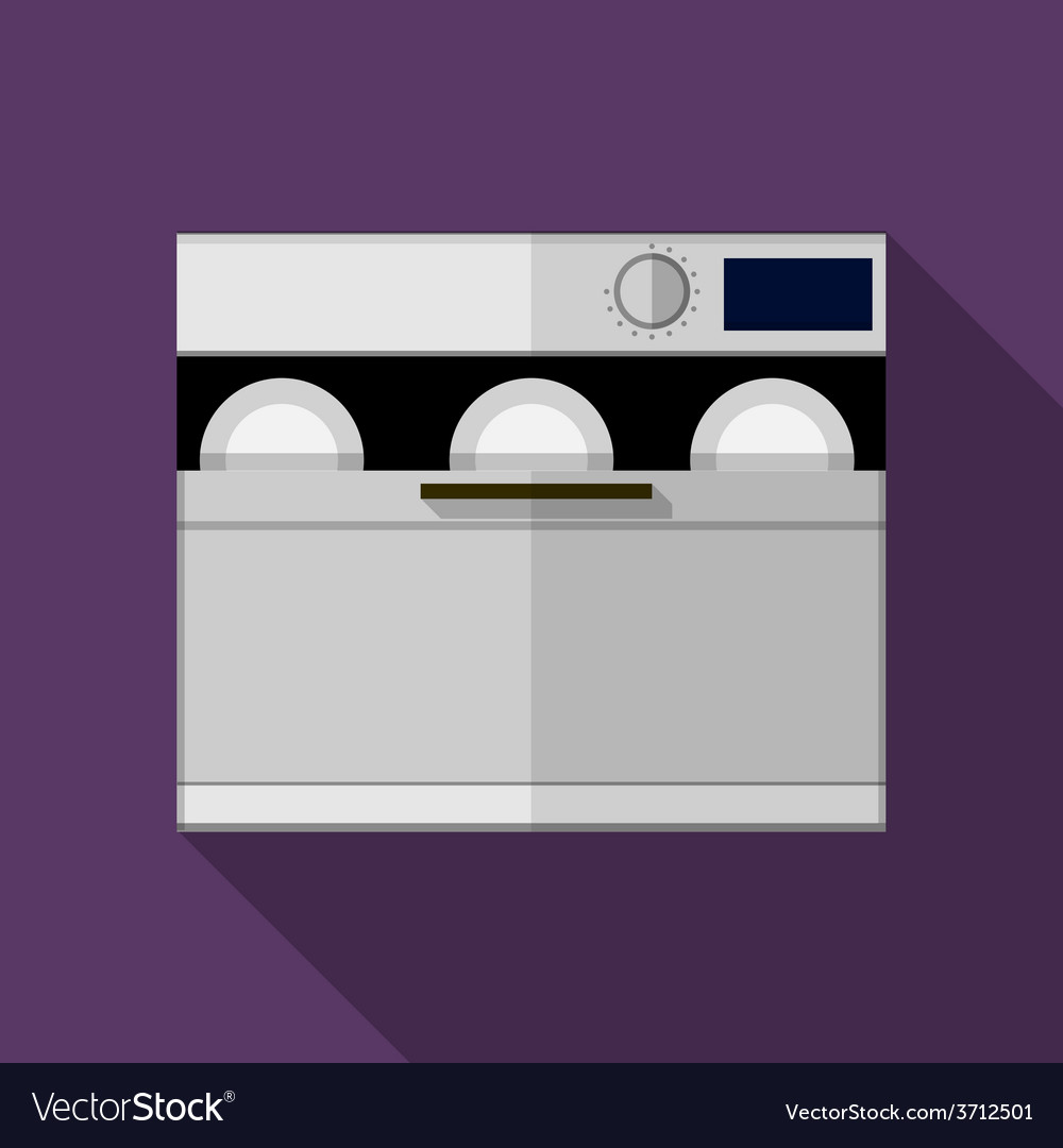 Flat color gray dishwasher machine icon vector | Price: 1 Credit (USD $1)