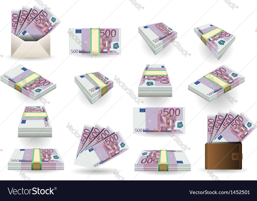 Full set of five hundred euros banknotes vector | Price: 1 Credit (USD $1)