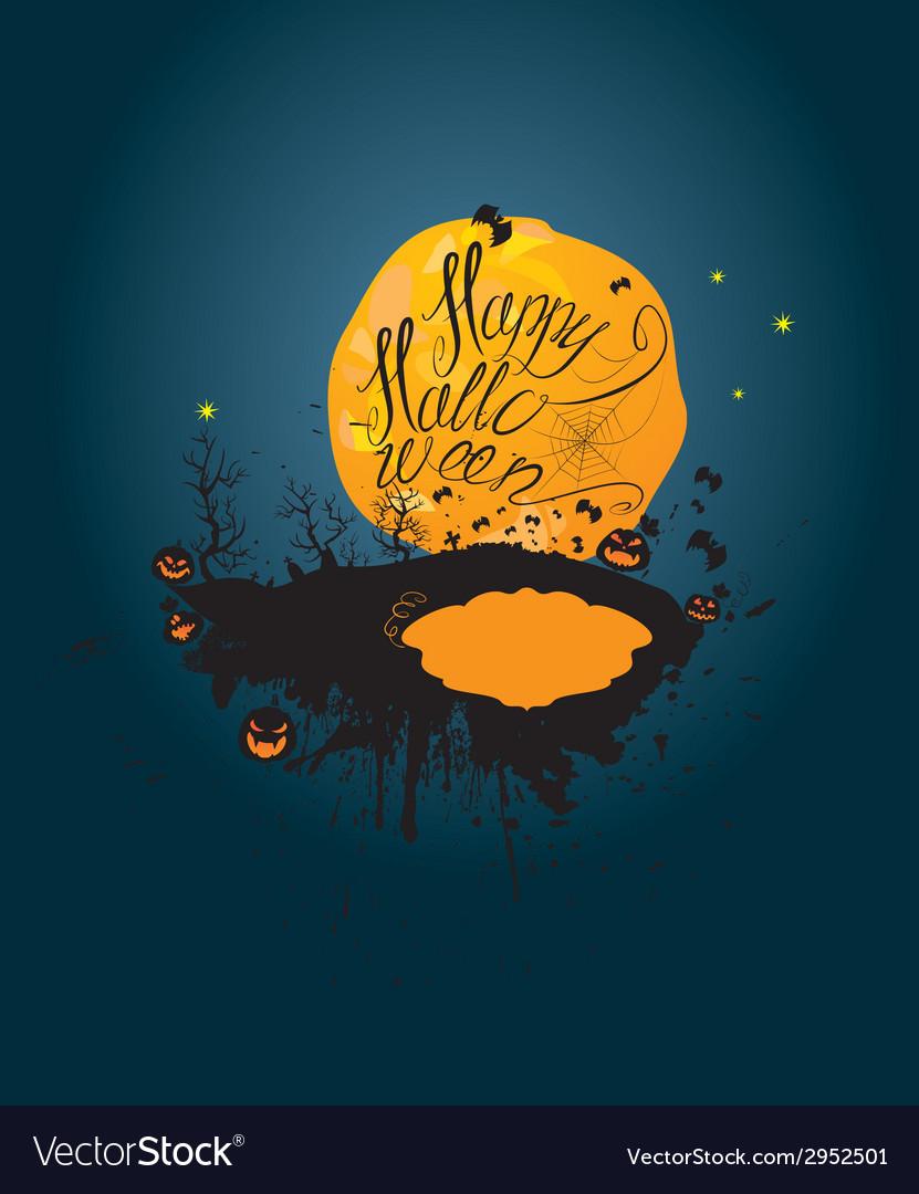Halloween night pumpkins sillouettes on moon vector | Price: 1 Credit (USD $1)
