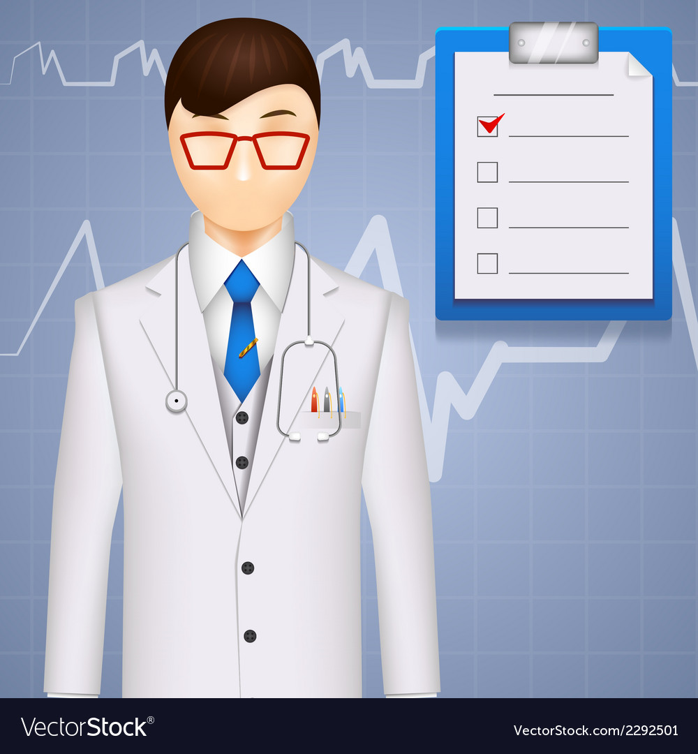 Md or cardiologist on a cardiogram background vector | Price: 1 Credit (USD $1)