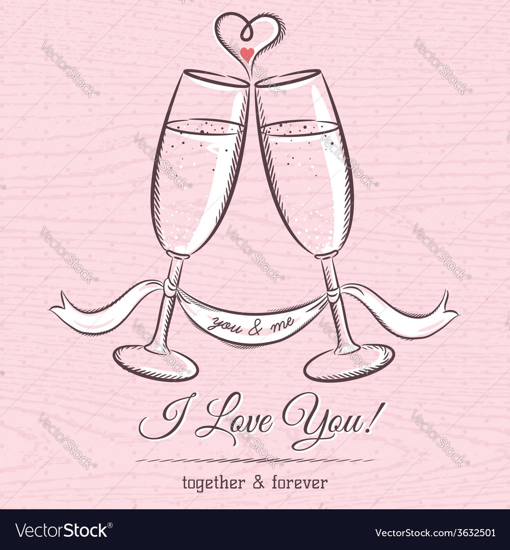 Romantic card with two glass of champagne vector | Price: 1 Credit (USD $1)