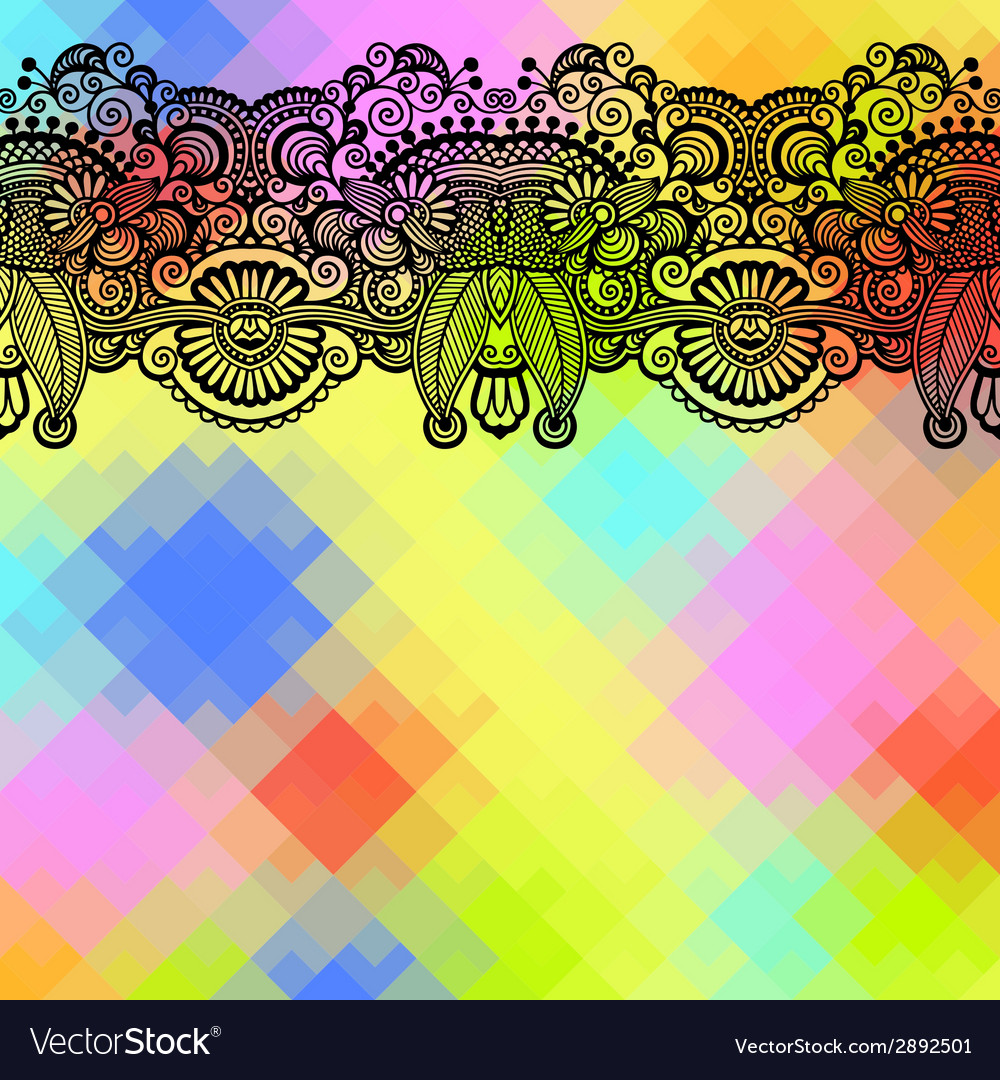 Square geometric composition with ethnic flower vector | Price: 1 Credit (USD $1)