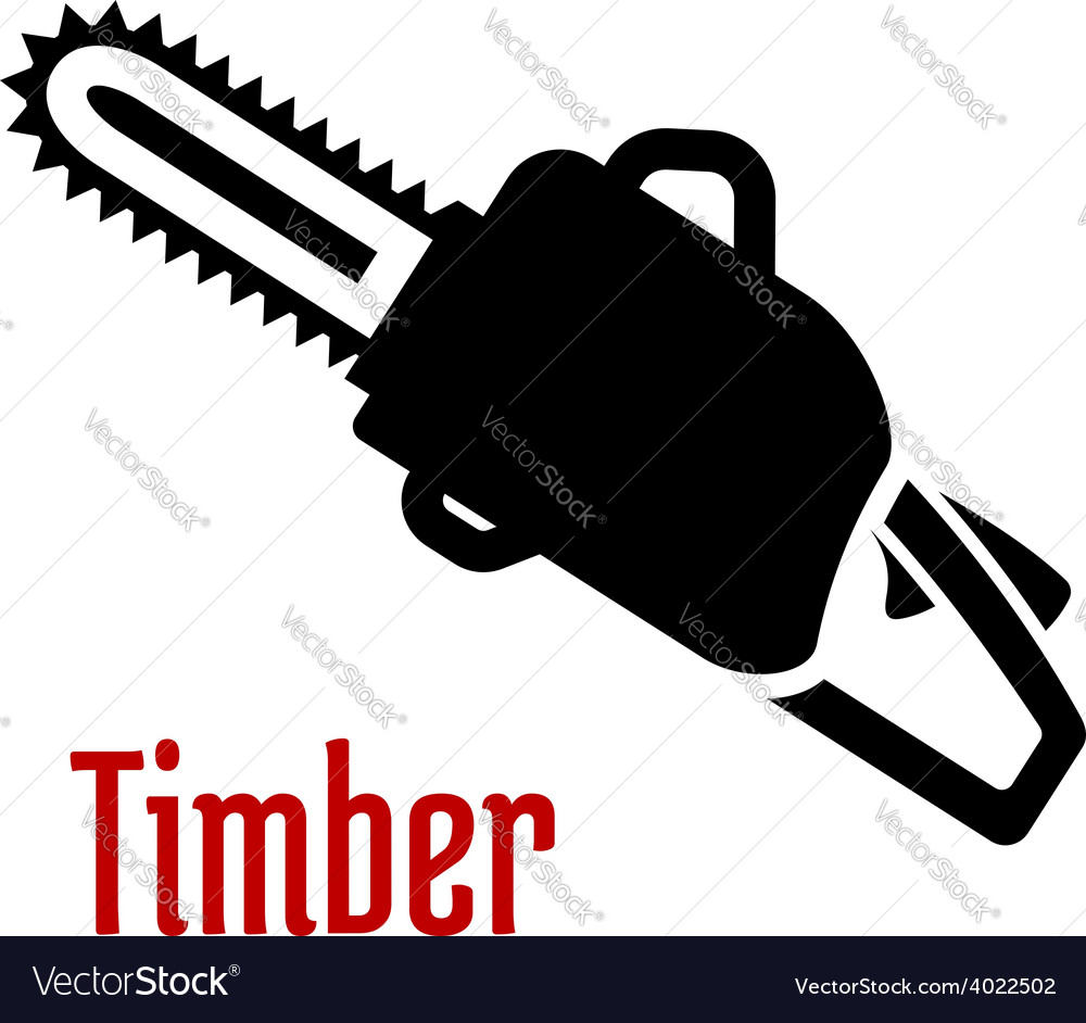 Black petrol chainsaw logo or emblem vector | Price: 1 Credit (USD $1)