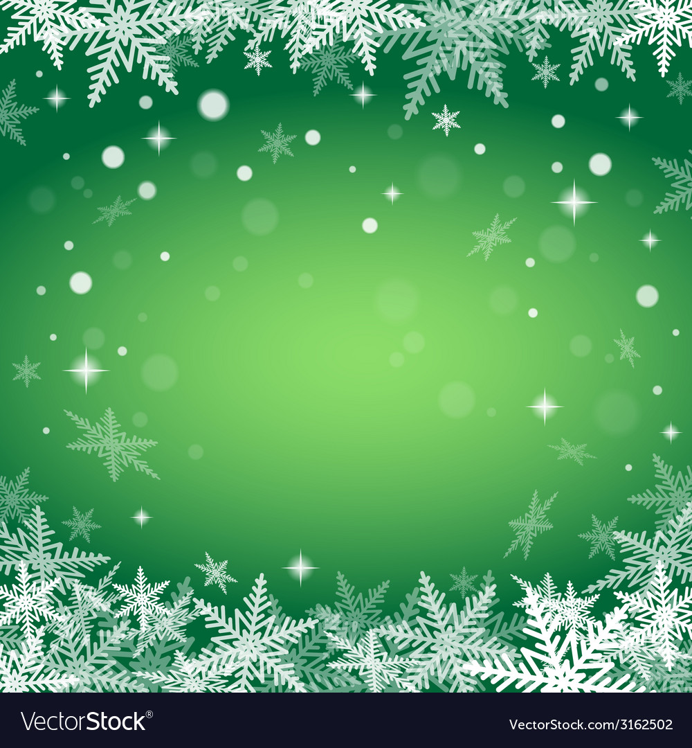 Christmas snowflakes on green background vector | Price: 1 Credit (USD $1)