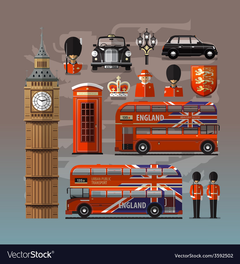 England london uk set of colored icons vector | Price: 3 Credit (USD $3)