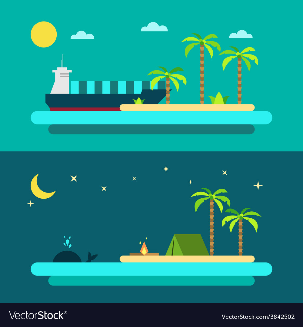 Flat design of summer paradise beach vector | Price: 1 Credit (USD $1)
