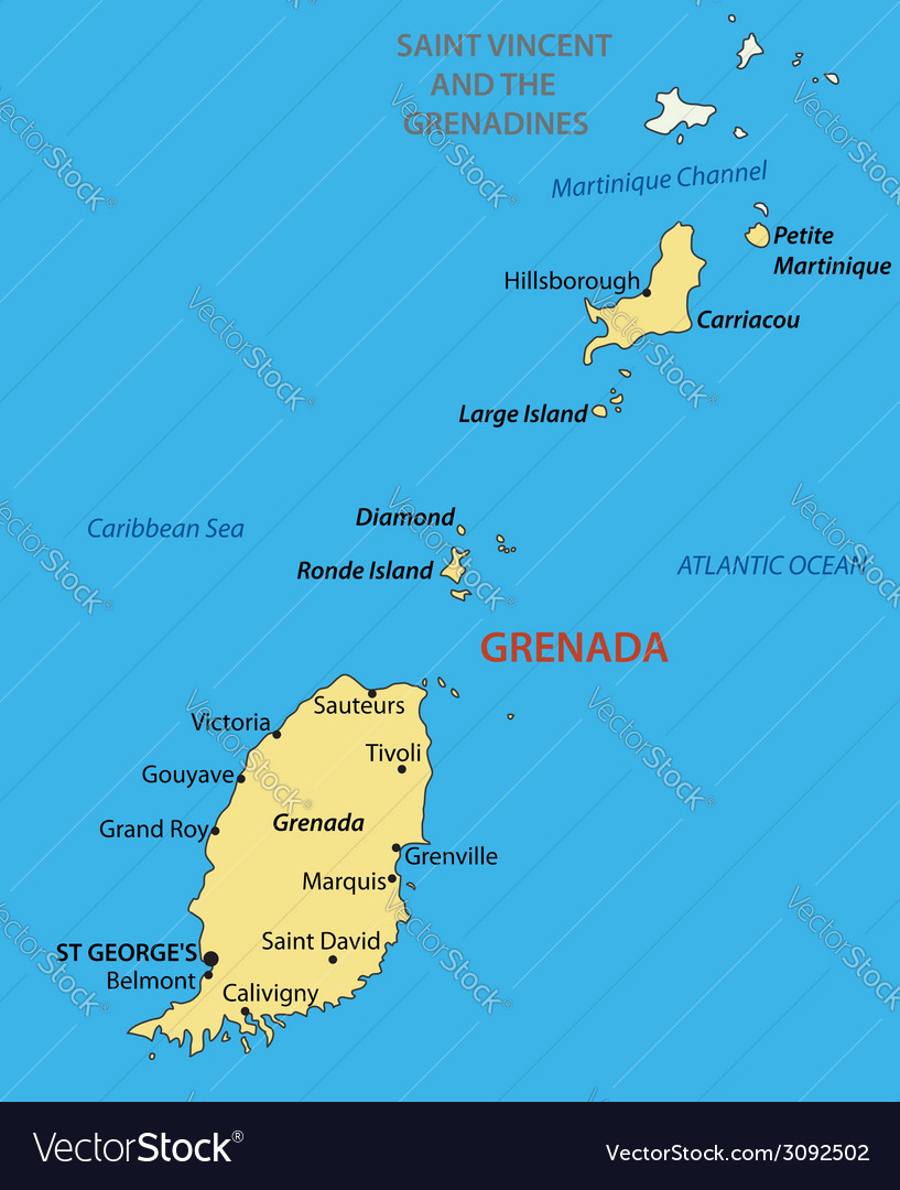 Grenada - map vector | Price: 1 Credit (USD $1)