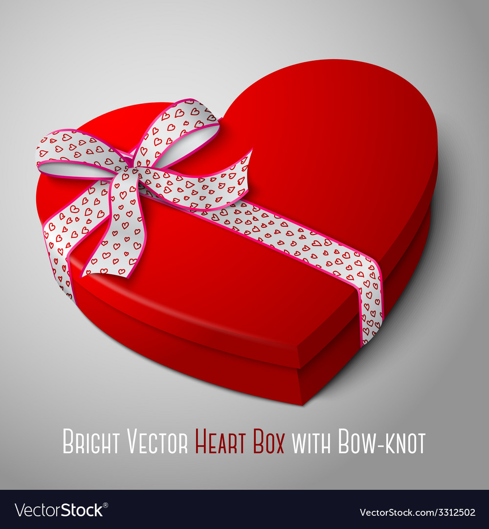 Realistic blank bright red heart shape box with vector | Price: 1 Credit (USD $1)