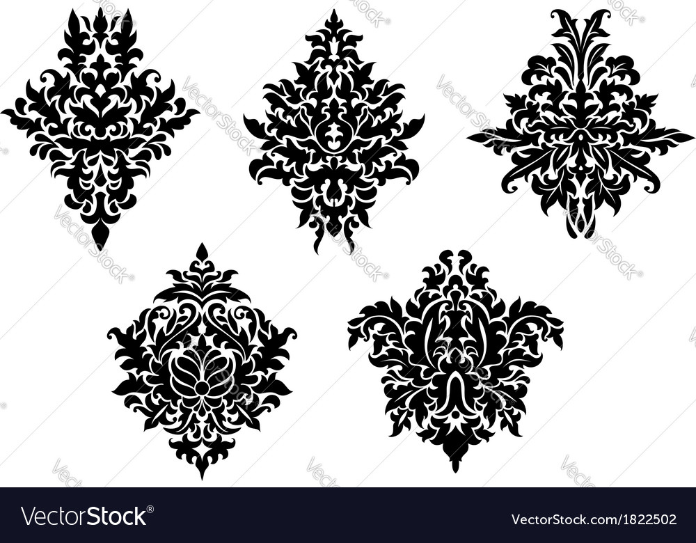 Set of five different foliate arabesques vector | Price: 1 Credit (USD $1)