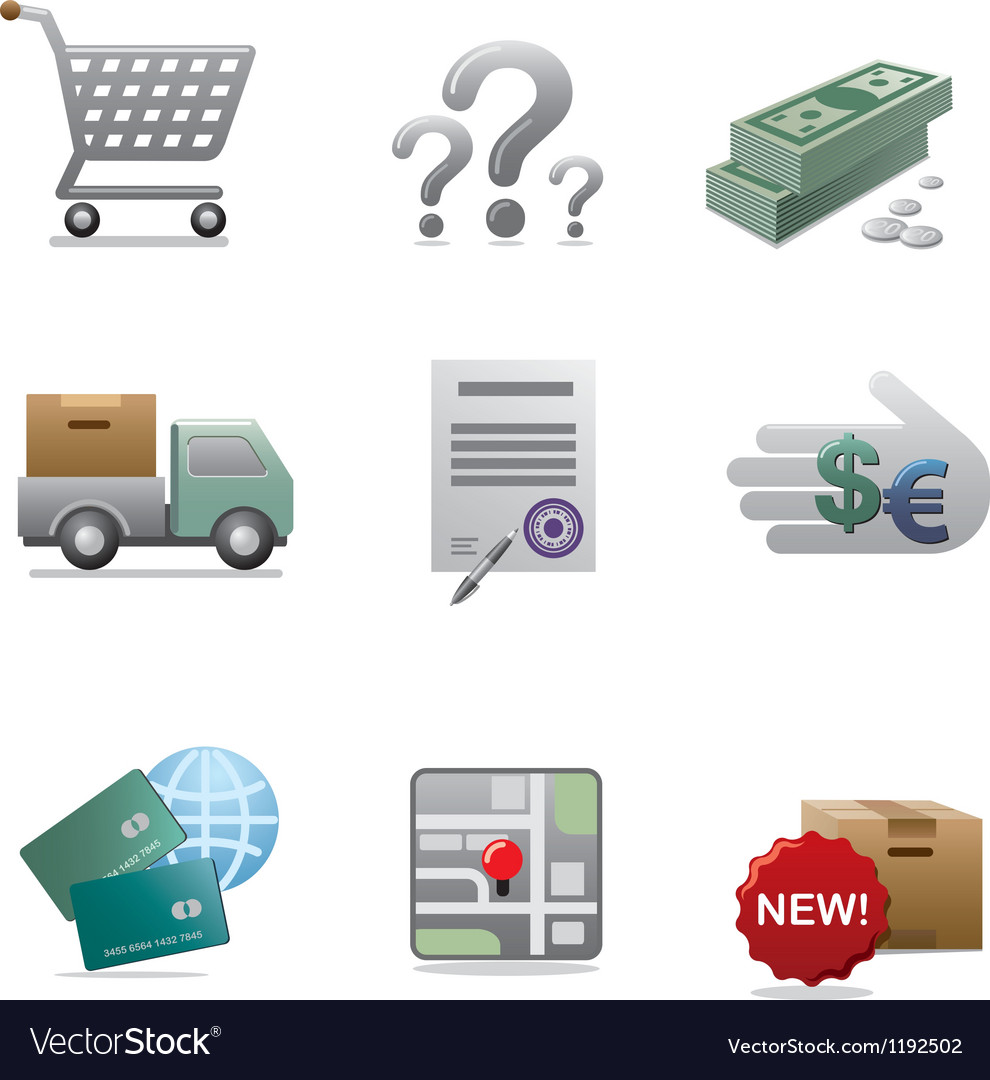 Shopping icon set vector | Price: 3 Credit (USD $3)