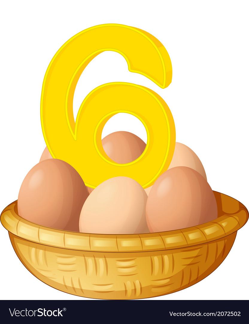 Six eggs vector | Price: 1 Credit (USD $1)