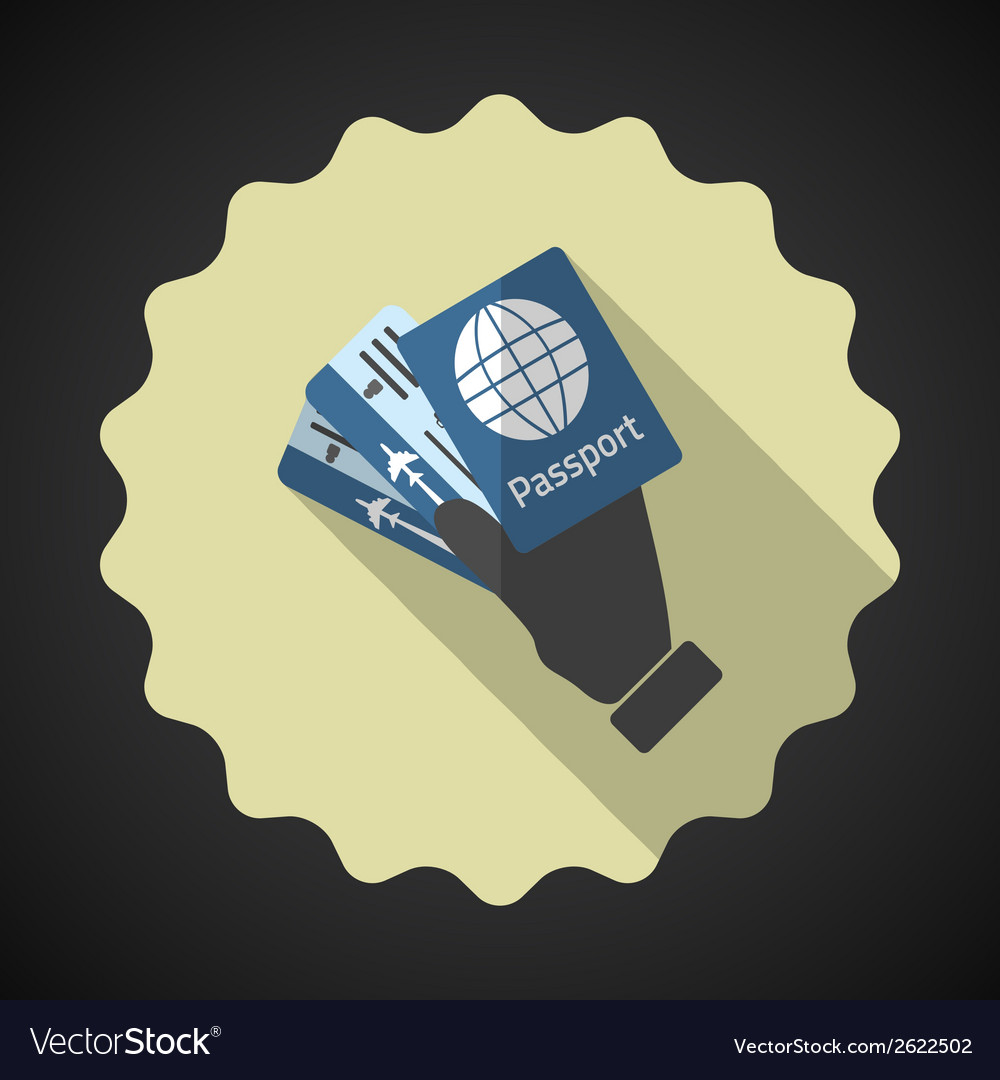 Travel airport tickets and passport in hand flat vector | Price: 1 Credit (USD $1)