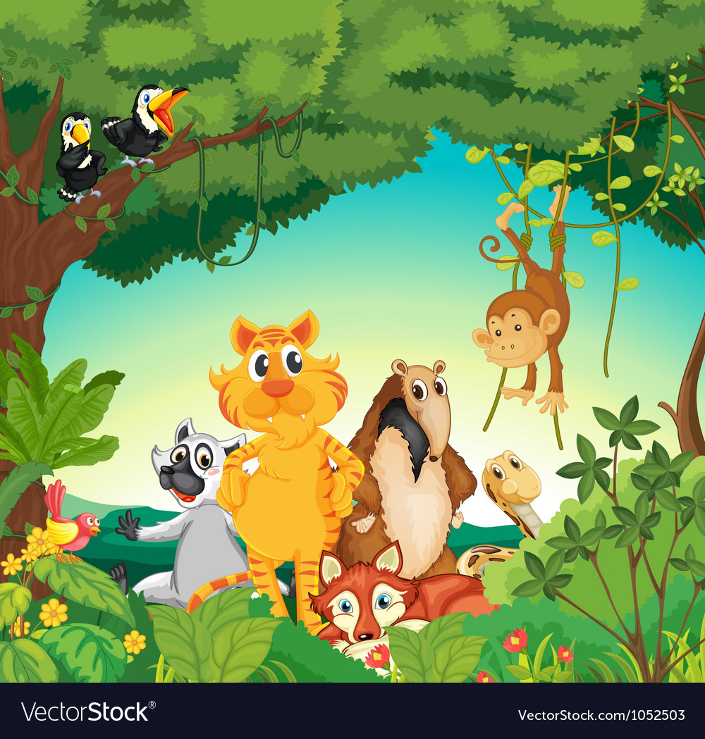 Animals in the forest vector | Price: 5 Credit (USD $5)