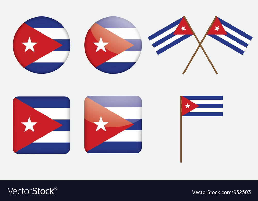 Badges with flag of cuba vector | Price: 1 Credit (USD $1)