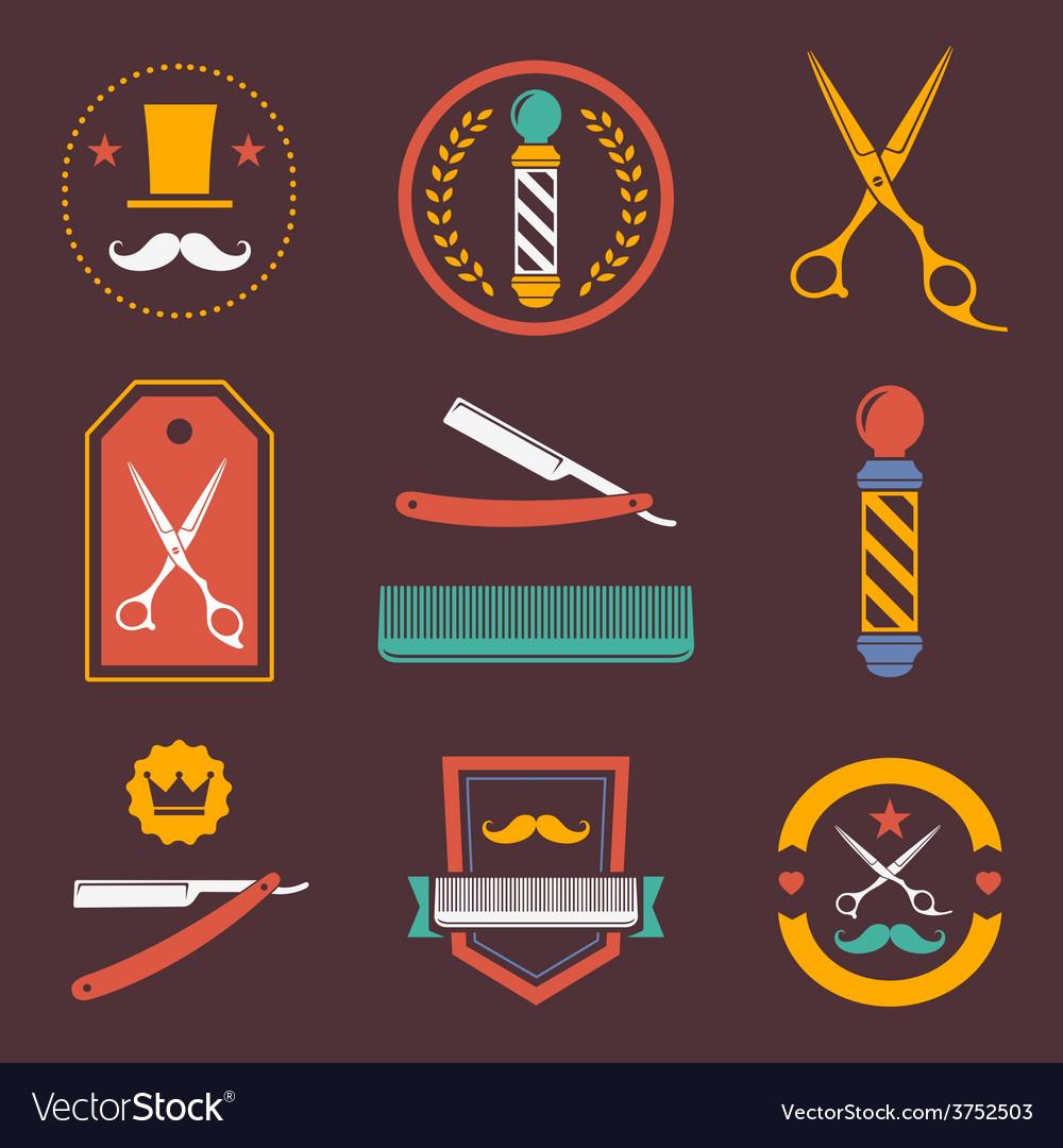 Barber shop logo labels badges vintage vector | Price: 1 Credit (USD $1)