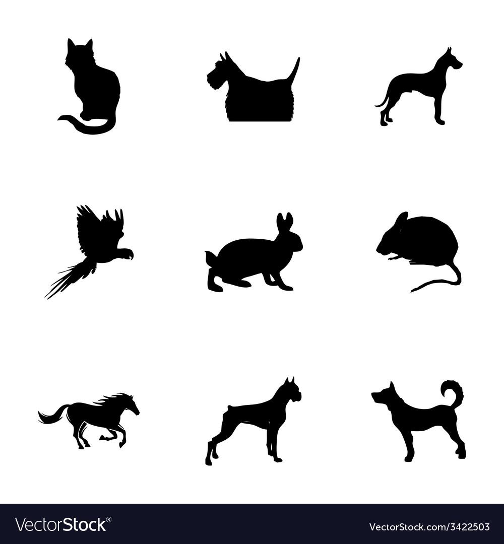 Black pet icons set vector