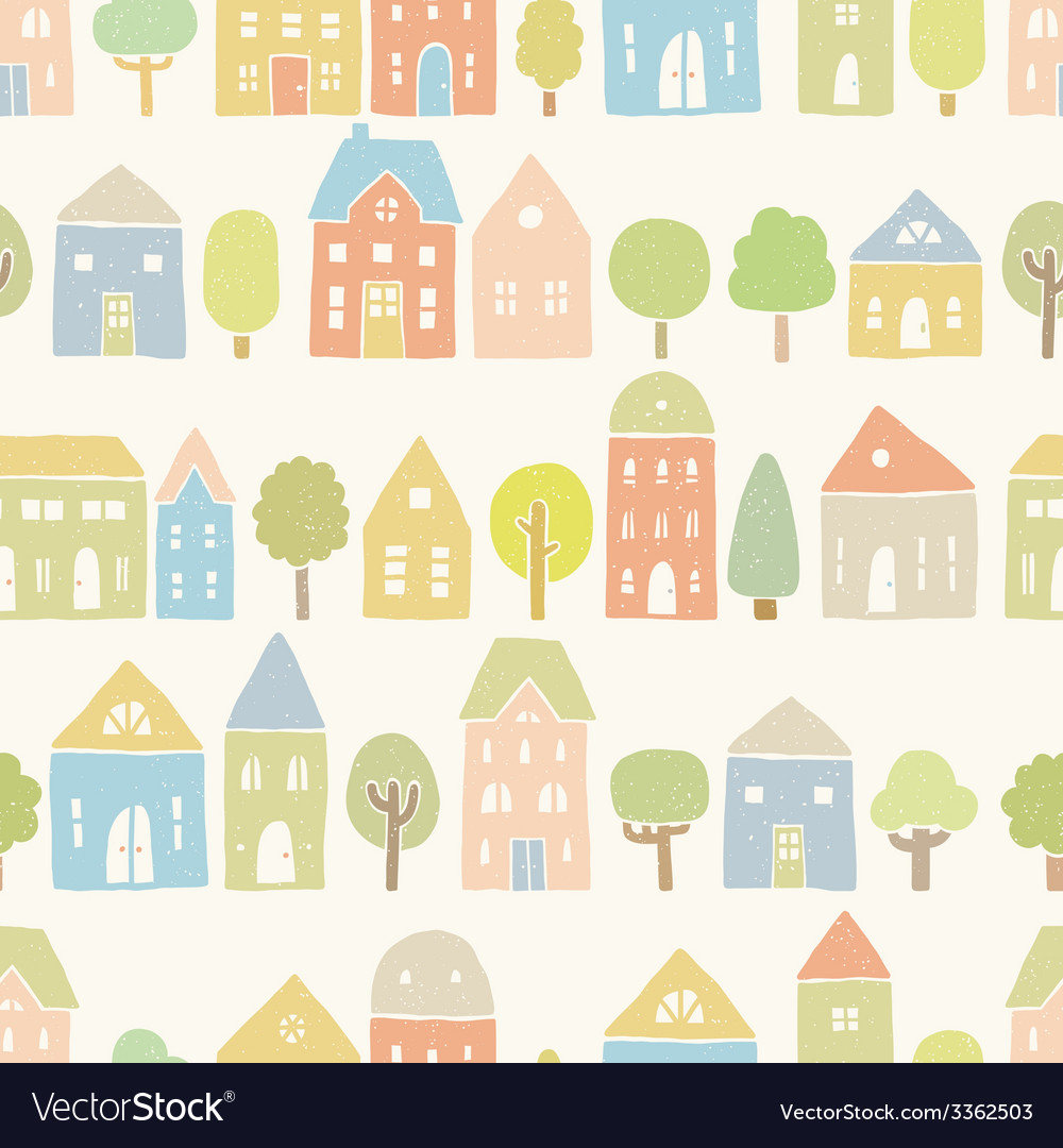 Cute houses and trees pattern vector | Price: 1 Credit (USD $1)